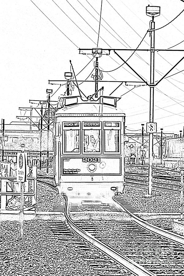New Orleans Digital Art - French Quarter French Market Cable Car New Orleans With Photocopy by Shawn OBrien
