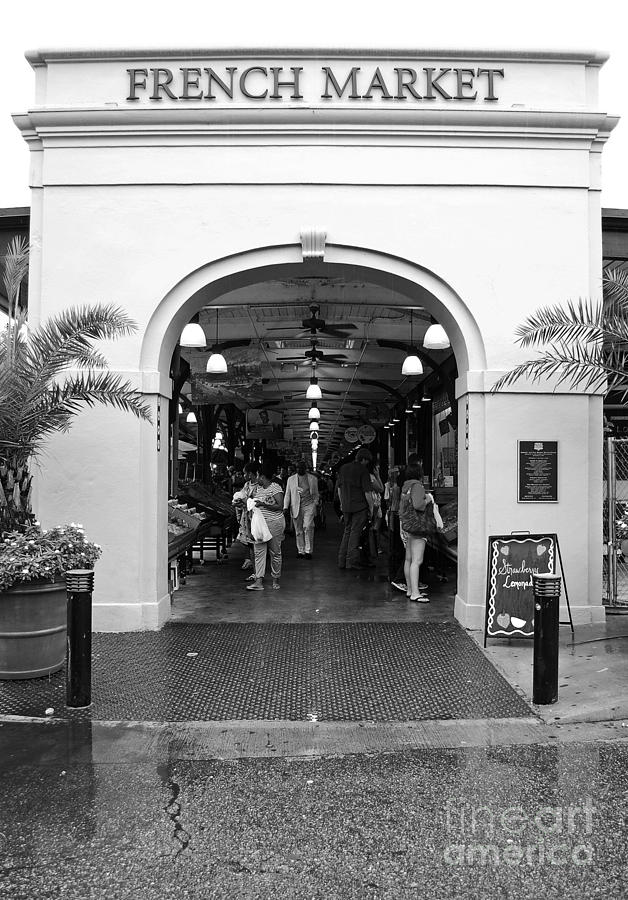 New orleans digital art french quarter french market entrance new orleans black and white by