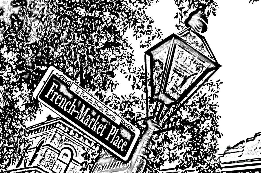 Travelpixpro New Orleans Digital Art - French Quarter French Market Street Sign New Orleans Photocopy Digital Art by Shawn OBrien