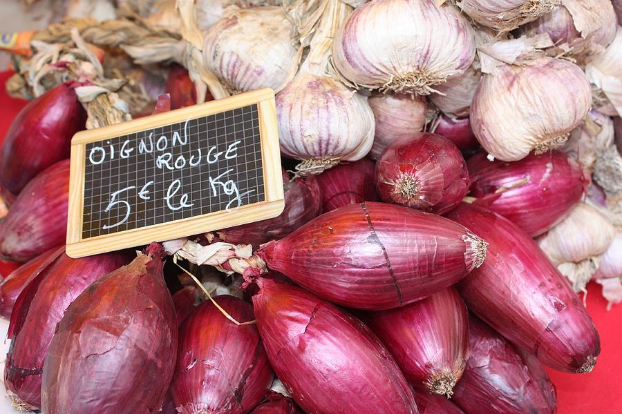 Onions Photograph - French Red Onions And Garlic by Yvonne Ayoub