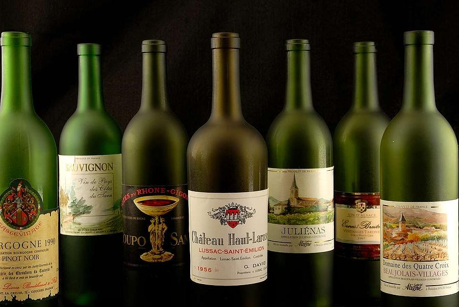 Labels Photograph - French Wine Labels by David Campione