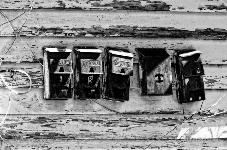 Mailboxes Photograph - Freret Street Mailboxes - Black And White -nola by Kathleen K Parker