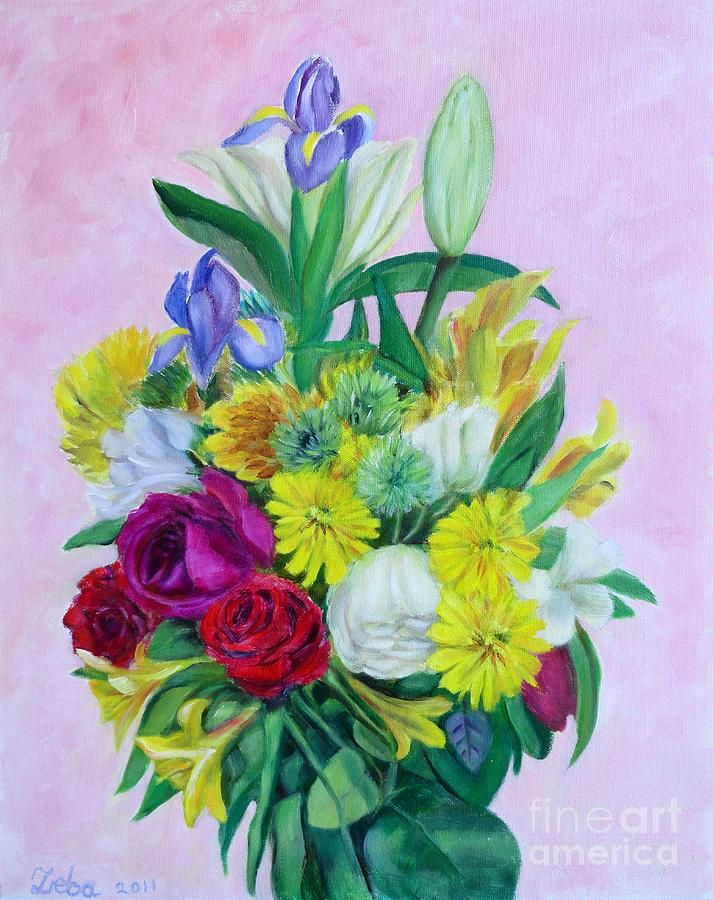 Floral Painting - Fresh cut bunch by Ziba Bastani