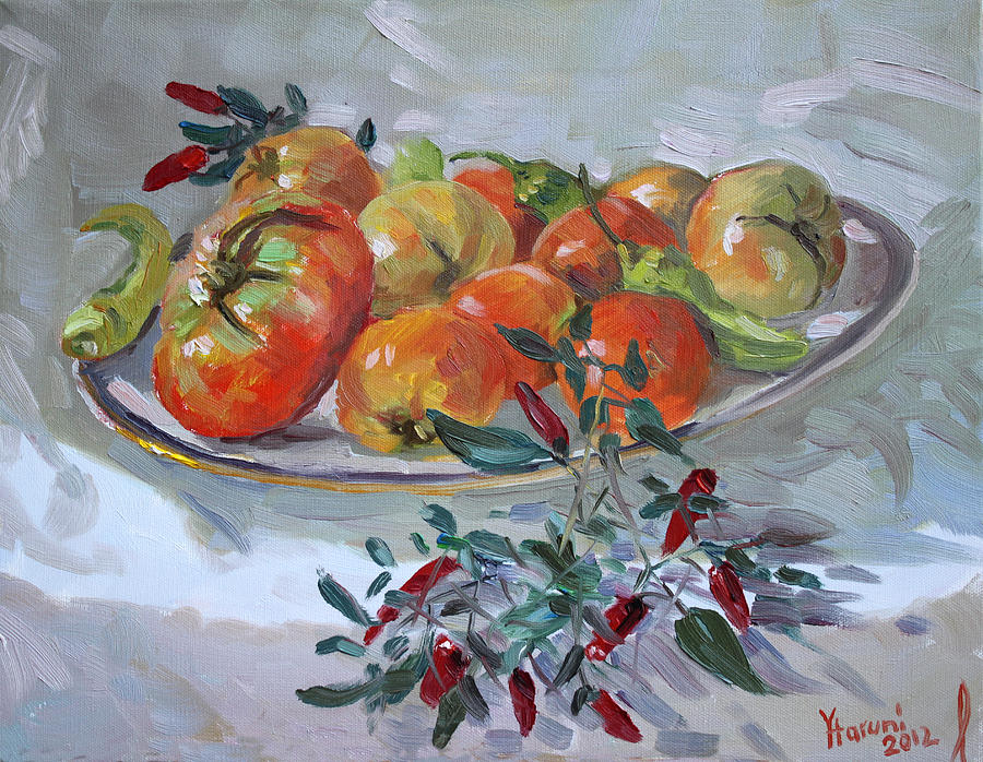 Tomatoes Painting - Fresh From The Garden by Ylli Haruni