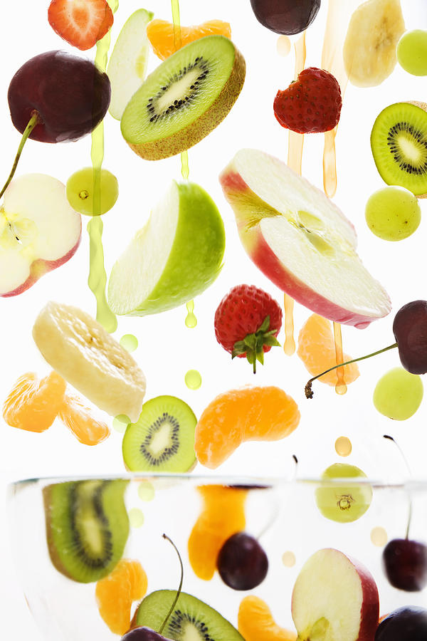 Vertical Photograph - Fresh Mixed Fruit With Apple & Orange Juice by Andrew Bret Wallis