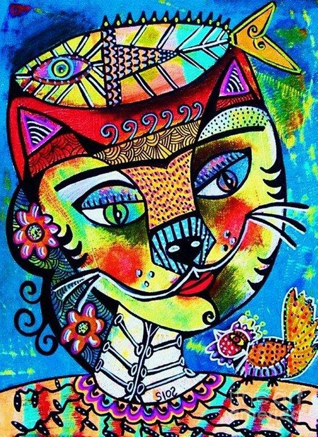 Frida Cat Painting By Sandra Silberzweig