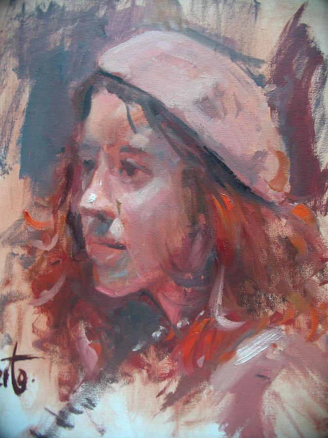 Portrait Painting - Friday Girl by Berto Ortega