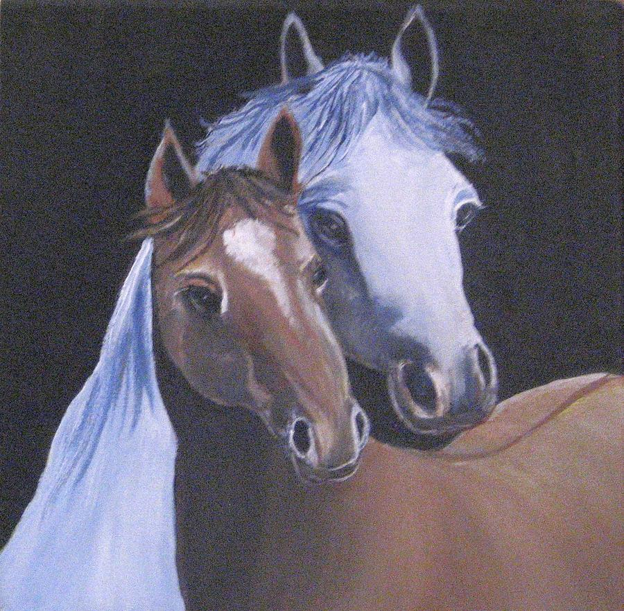 Horses Painting - Friendship by Usha Rai