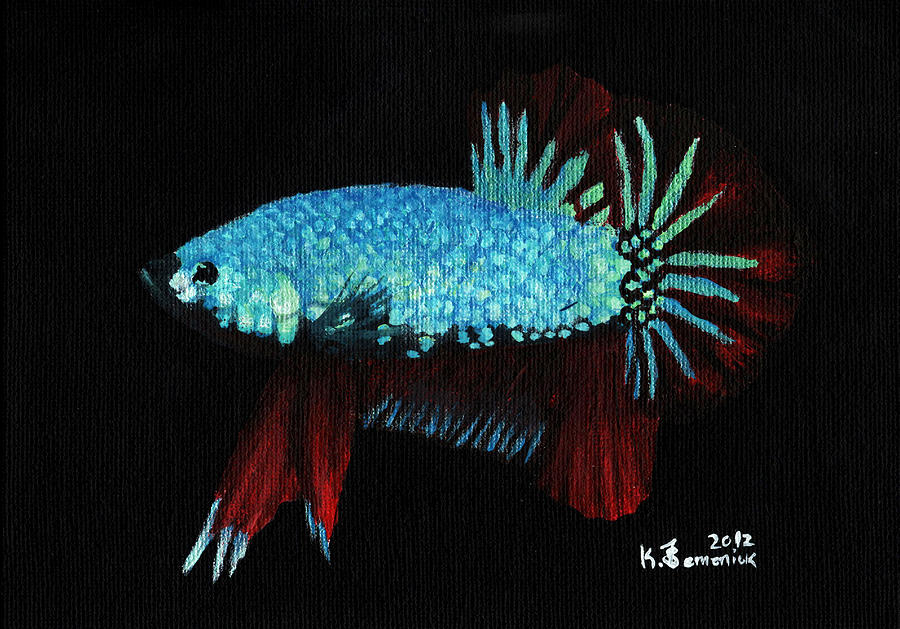 Fish Painting - Frilled Blue Moonstone by Kayleigh Semeniuk