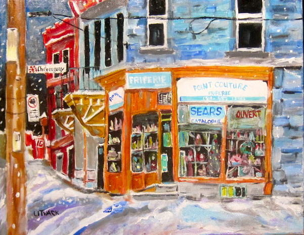 Montreal Painting - Friperie Point Couture by Michael Litvack