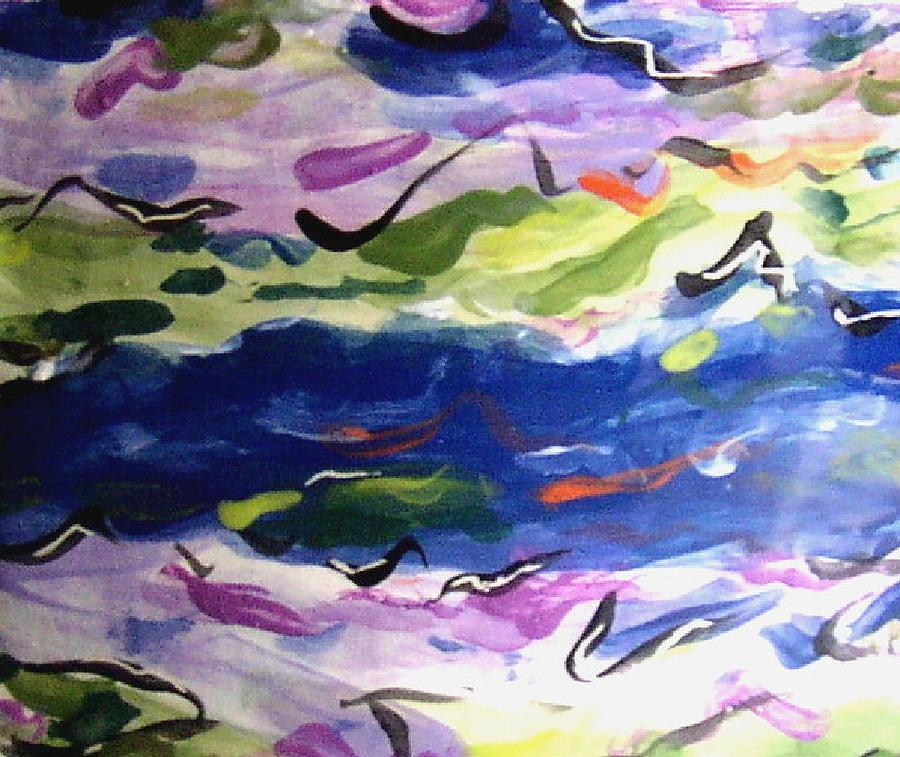 Seascape Ceramic Art - Frolicking Sea by Patricia Lazar