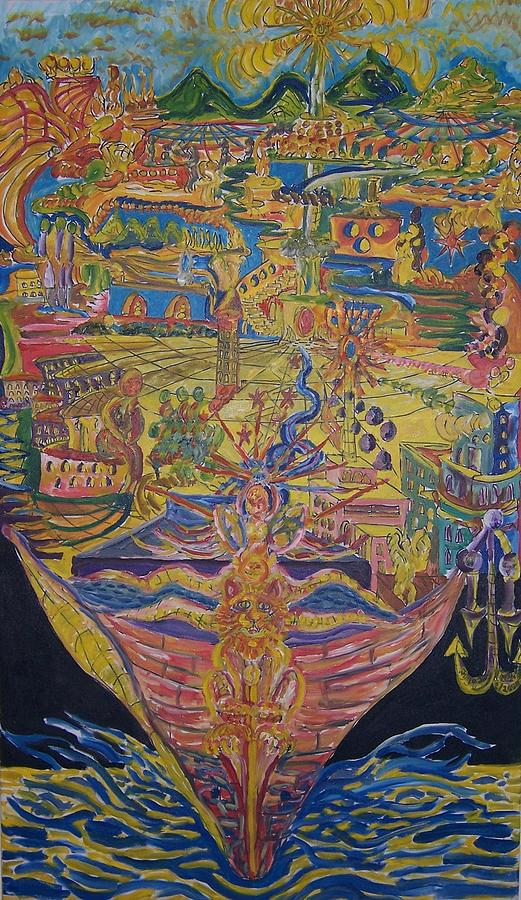 Boat Mixed Media - From Land We Sail To See by Timothy  Foley