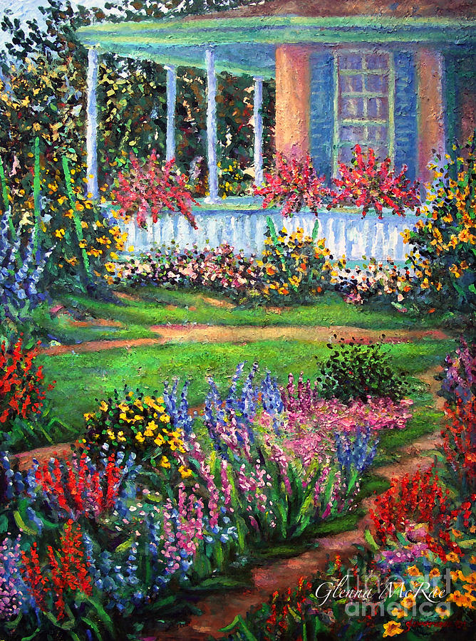 Front porch and flower gardens painting by glenna mcrae for Garden painting images