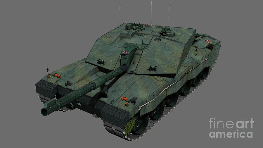 Horizontal Digital Art - Front View Of A British Challenger II by Rhys Taylor