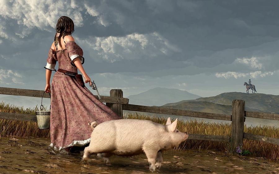 Pig Digital Art - Frontier Widow by Daniel Eskridge