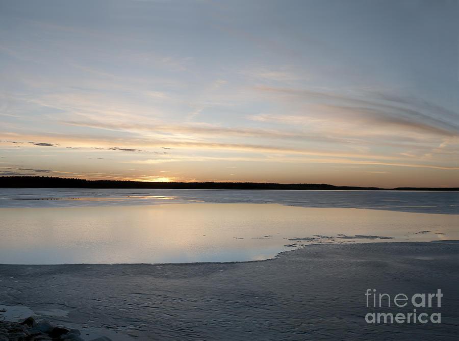 Prairie Sunset Photograph - Frozen Lake by Art Whitton