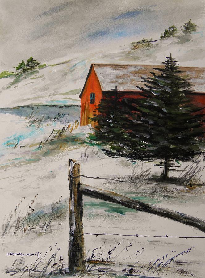 Pond Painting - Frozen Pond by John Williams