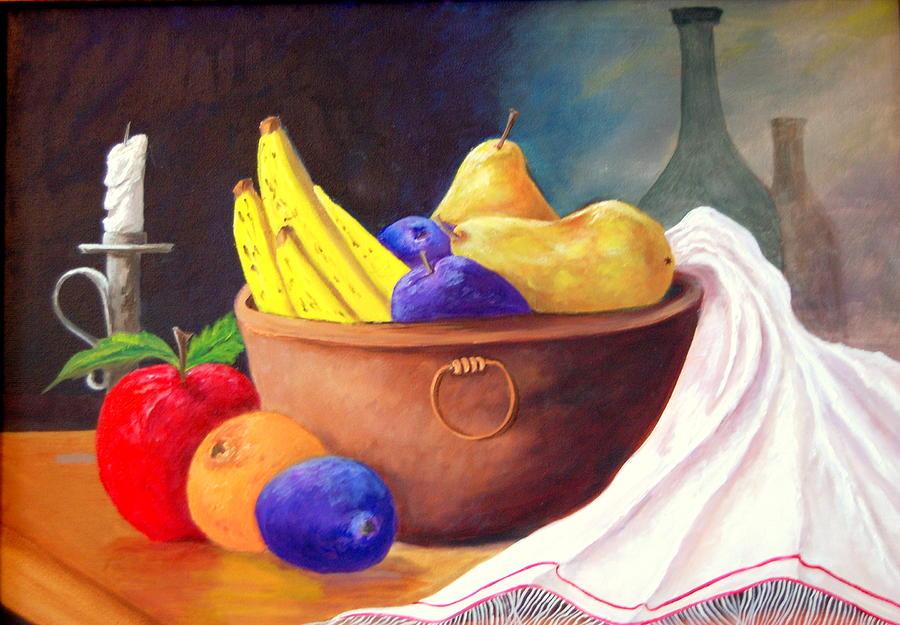 Plums Painting - Fruit Bowl By Candle by Janna Columbus
