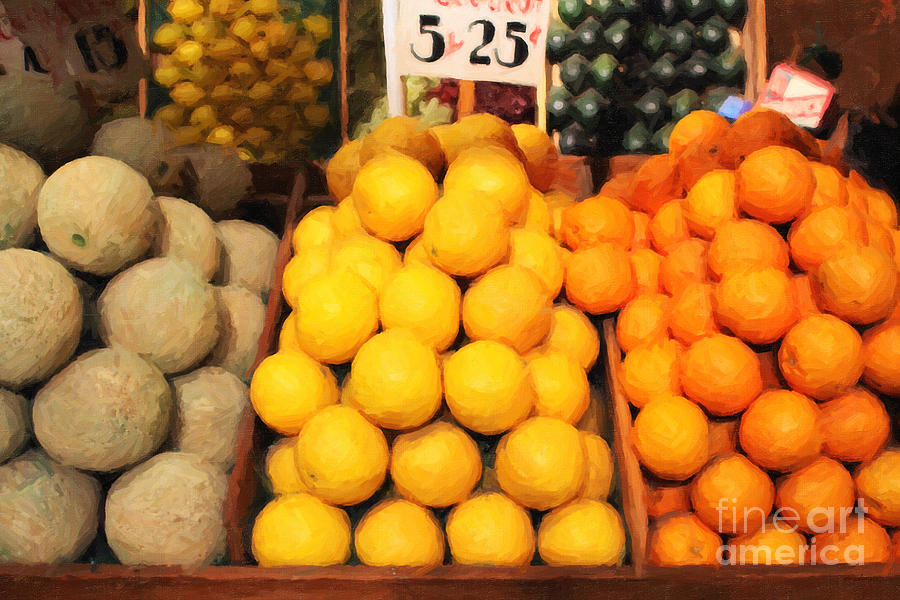 Orange Photograph - Fruit Market - Painterly - 7d17401 by Wingsdomain Art and Photography