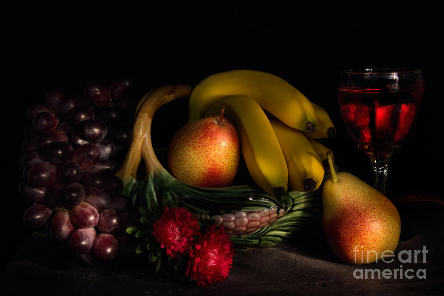 Fruit Photograph - Fruit Still Life With Wine by Ann Garrett