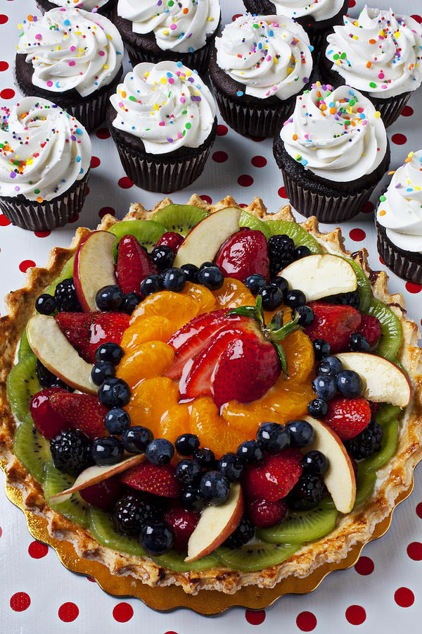 Cake Photograph - Fruit Tart Pie And Cupcakes  by Garry Gay