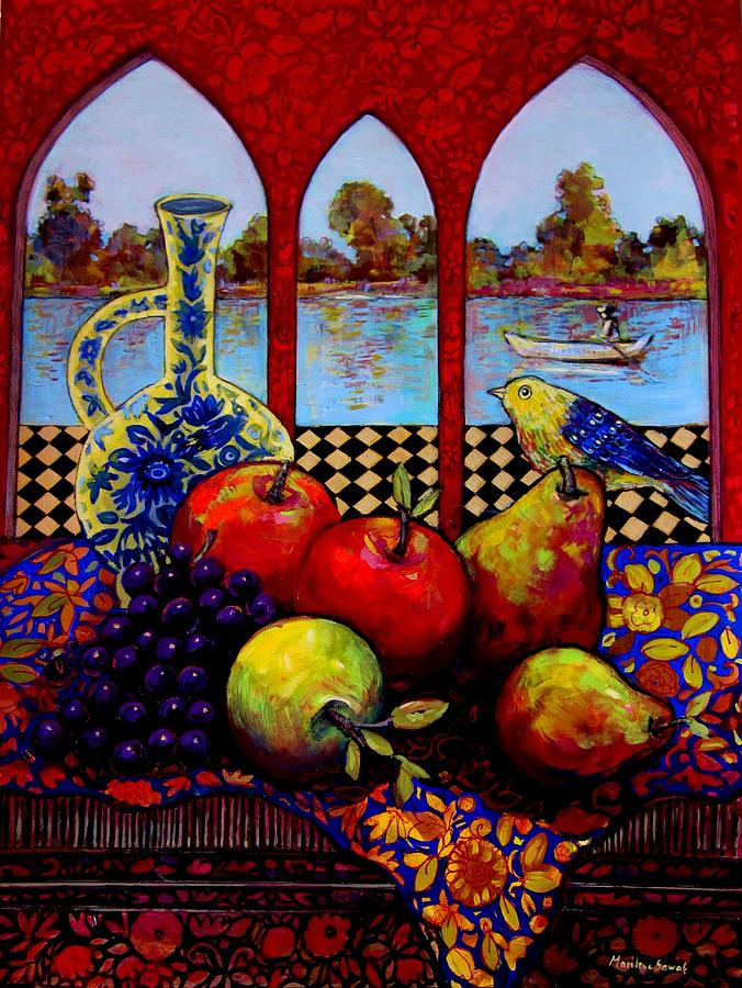Venice Painting - Fruits And River by Marilene Sawaf