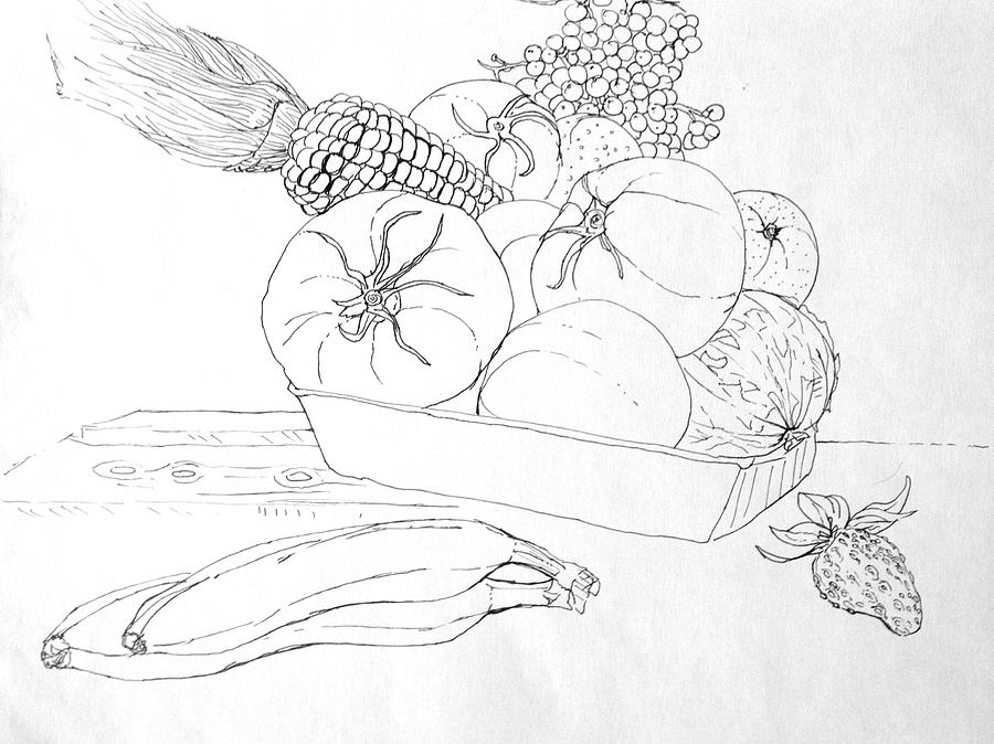 Fruits Drawing - Fruits And Veggies by Mike N
