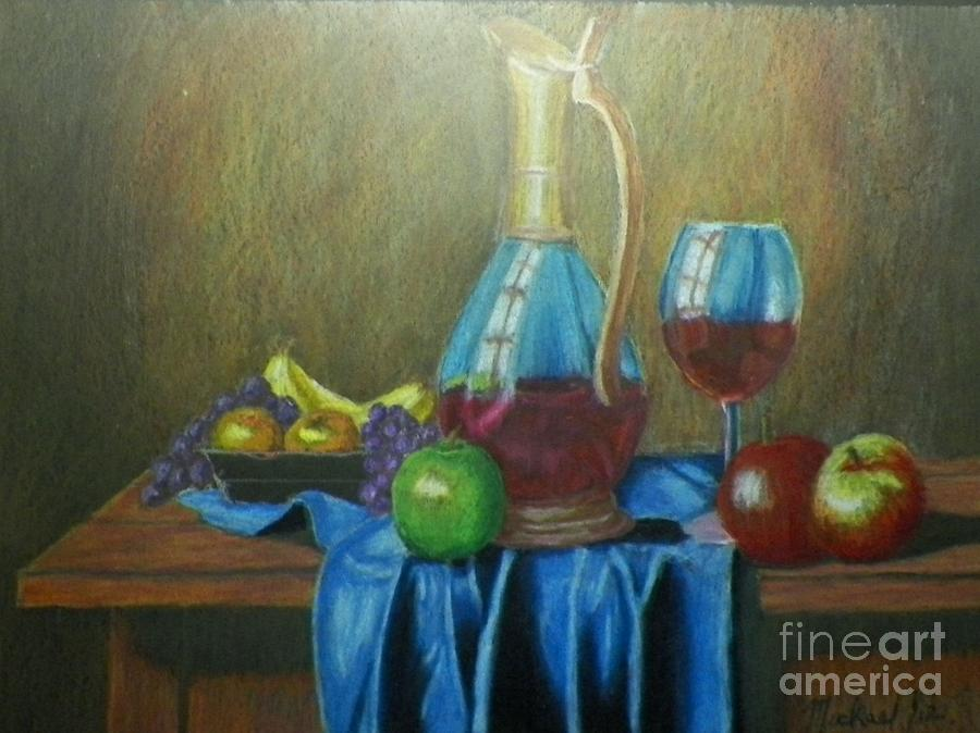 Still Life Drawing - Fruity Still Life by Mickael Bruce
