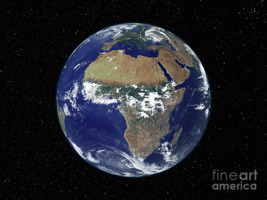 Color Image Photograph - Full Earth Showing Africa And Europe by Stocktrek Images