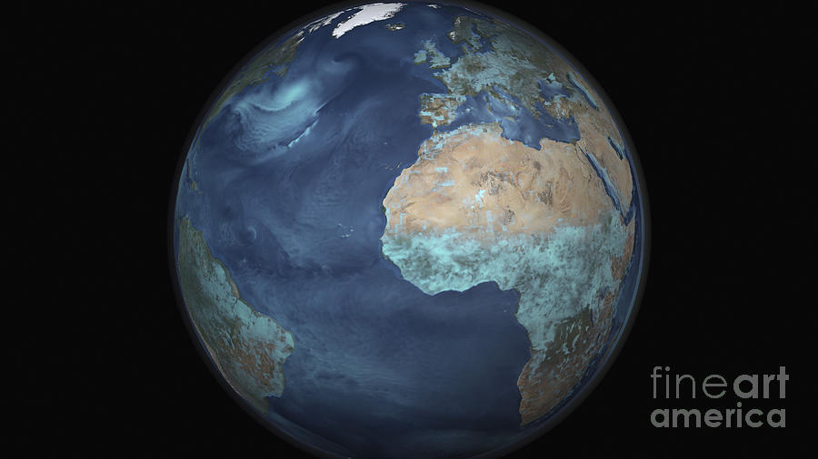 Copy Space Photograph - Full Earth Showing Evaporation by Stocktrek Images