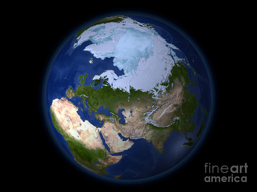 Africa Photograph - Full Earth Showing The Arctic Region by Stocktrek Images