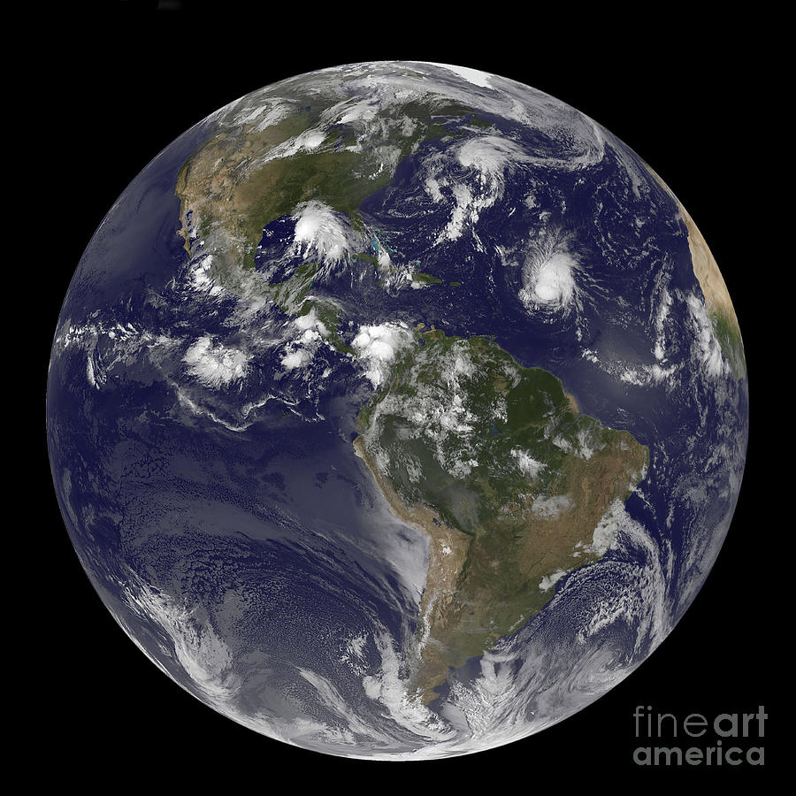 Western Hemisphere Photograph - Full Earth Showing Tropical Storms by Stocktrek Images