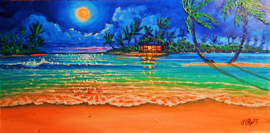 Full Moon Lagoon Painting by Joseph   Ruff