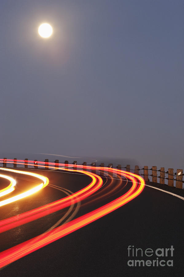 Asphalt Photograph - Full Moon Over A Curving Road by Jetta Productions, Inc