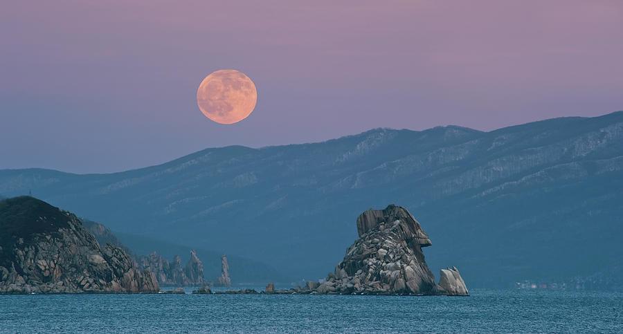 Horizontal Photograph - Full Moon Over Cape Laplace. by V. Serebryanskiy