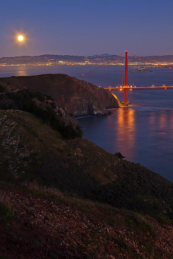 Vertical Photograph - Full Moon Over Golden Gate Bridge by Photo by Mike Shaw