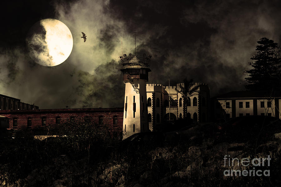 San Francisco Photograph - Full Moon Over Hard Time - San Quentin California State Prison - 7d18546 - Partial Sepia by Wingsdomain Art and Photography
