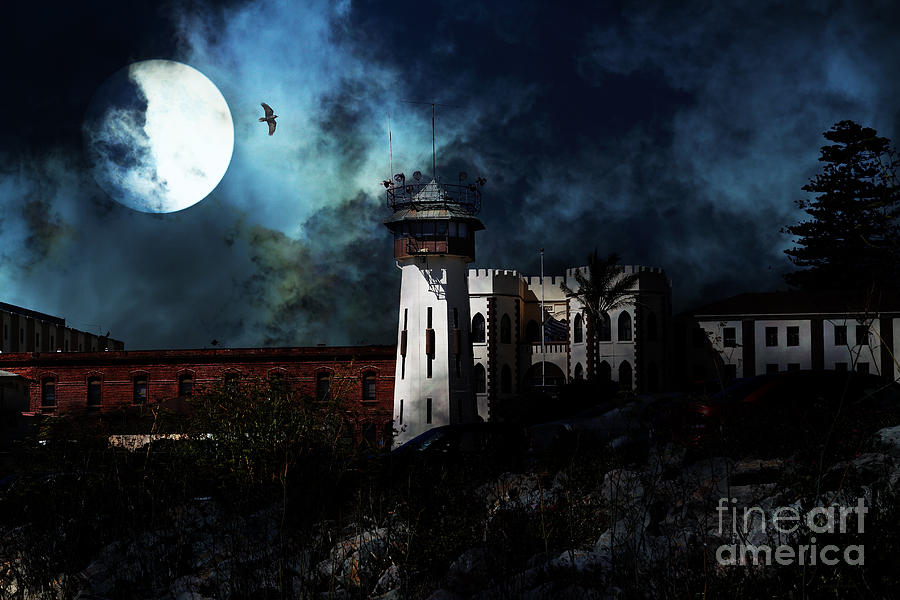 San Francisco Photograph - Full Moon Over Hard Time - San Quentin California State Prison - 7d18546 by Wingsdomain Art and Photography