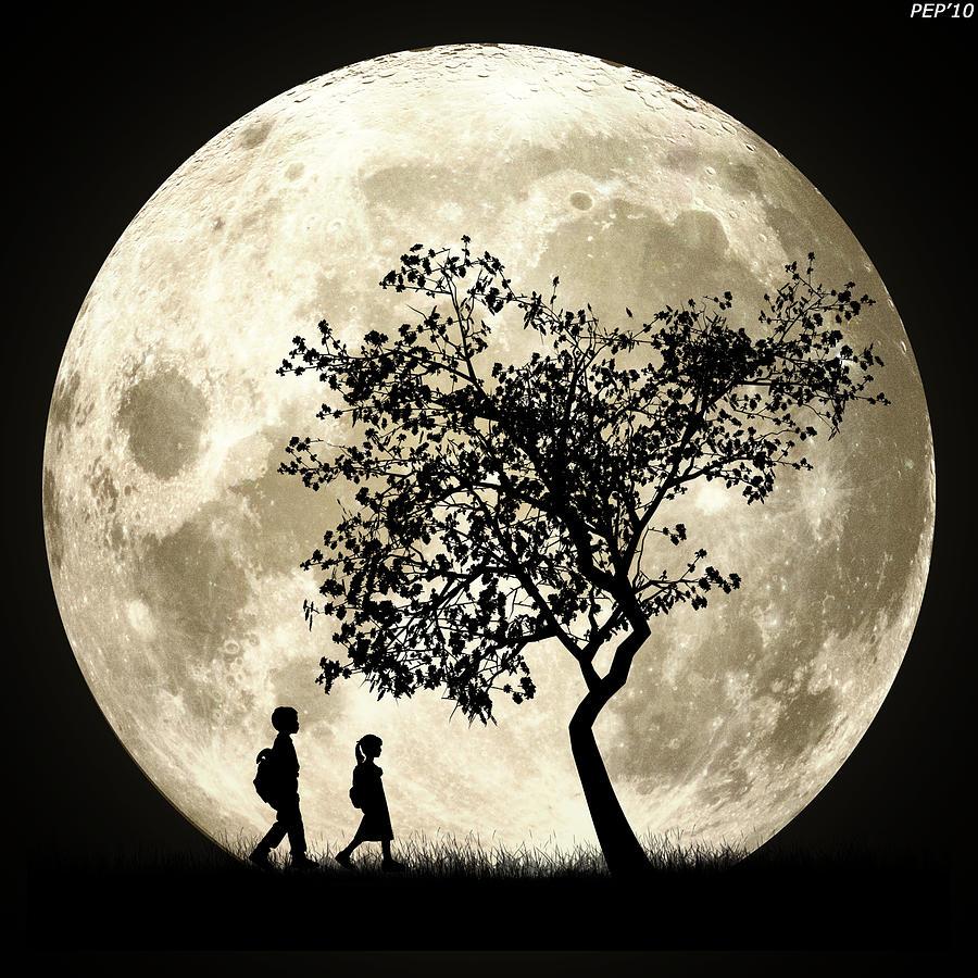 Graphic Design Digital Art - Full Moon by Phil Perkins