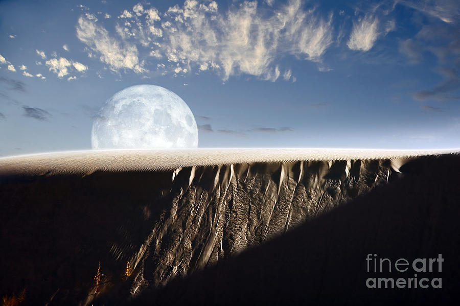 Rising Digital Art - Full Moon Rising Above A Sand Dune by Roth Ritter