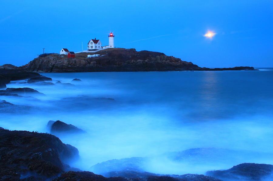 Lighthouse Photograph - Full Moon Surf Cape Neddick Nubble Lighthouse by John Burk