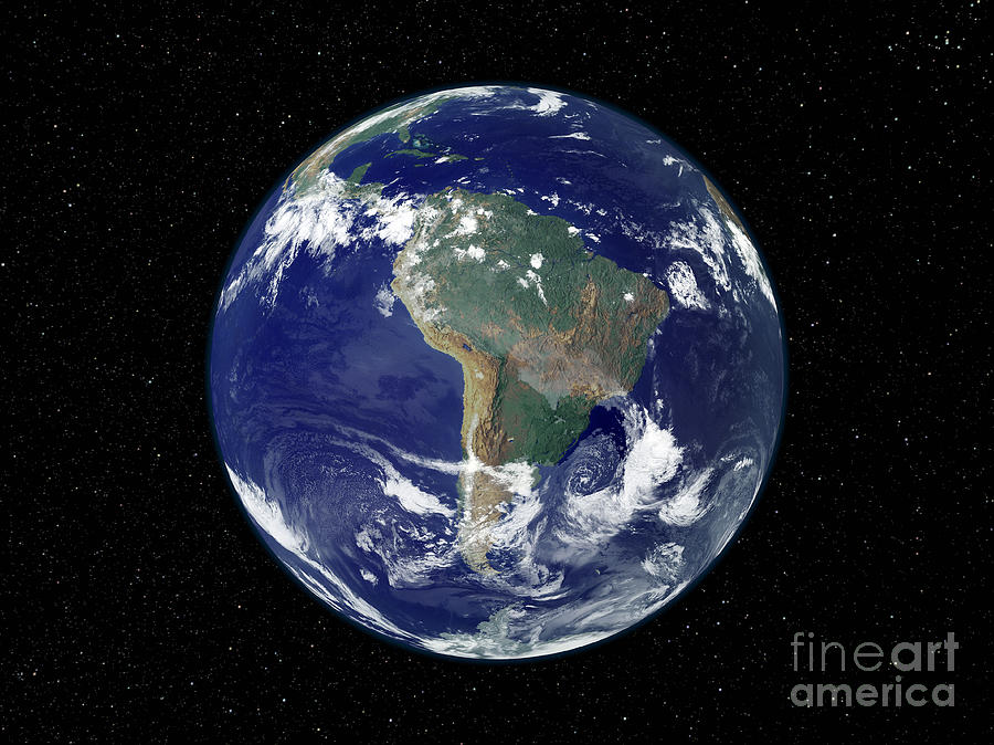 Color Image Photograph - Fully Lit Earth Centered On South by Stocktrek Images