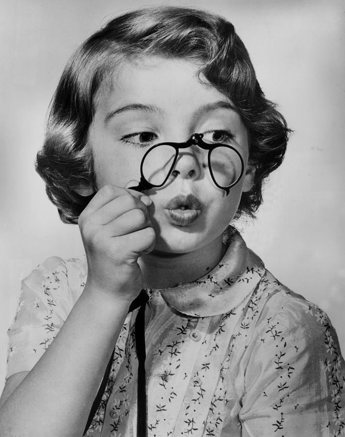 Child Photograph - Fun With Pince-nez by Archive Photos