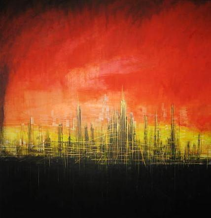 Contemporary Painting - Futuristic Cityscape by CRISTIAN Vega-Rojo