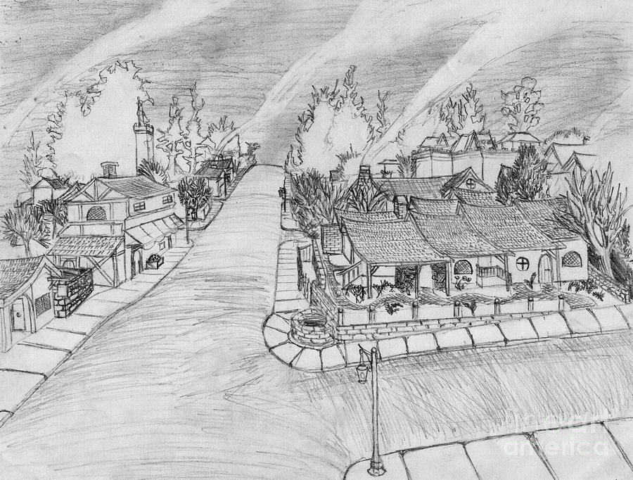 Landscape Drawing - G Street From On High by Jonathan Armes