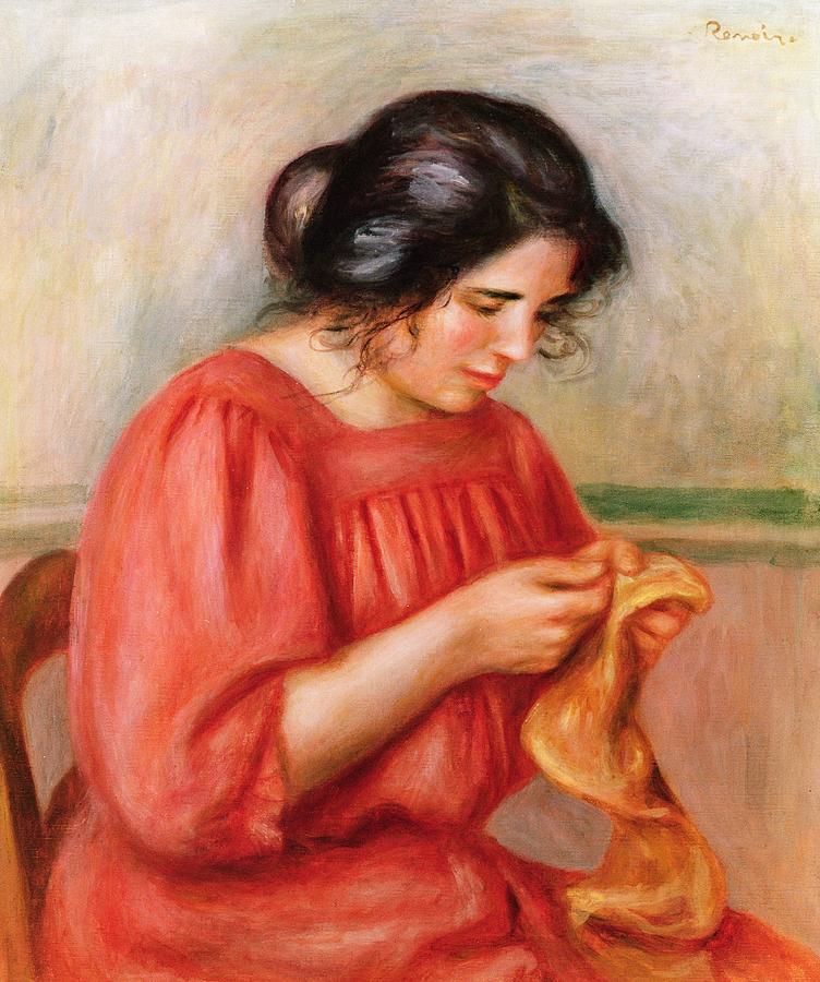 Pierre Auguste Renoir Painting - Gabrielle Darning by Pierre Auguste Renoir