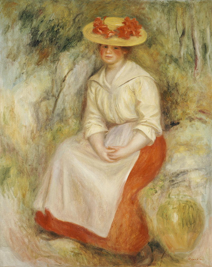 Impressionist; Impressionism; Portrait; Female; Seated; Sitting; Full Length Painting - Gabrielle In A Straw Hat by Pierre Auguste Renoir