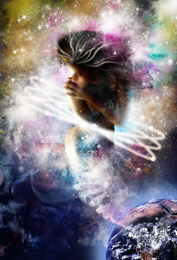 Gaia Digital Art - Gaia Genie by Julie L Hoddinott