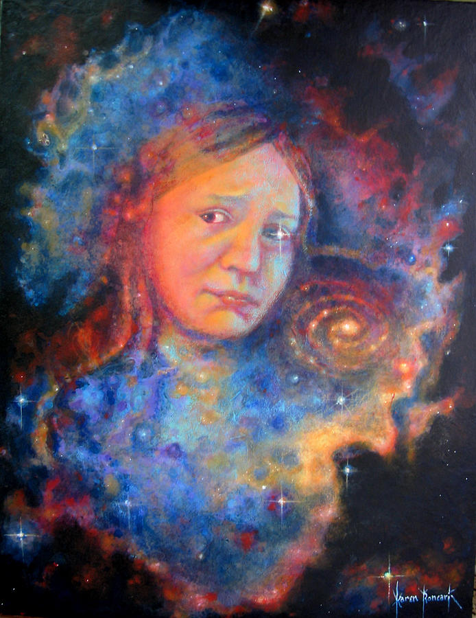 Outer Space Painting - Galaxy Girl by Karen Roncari