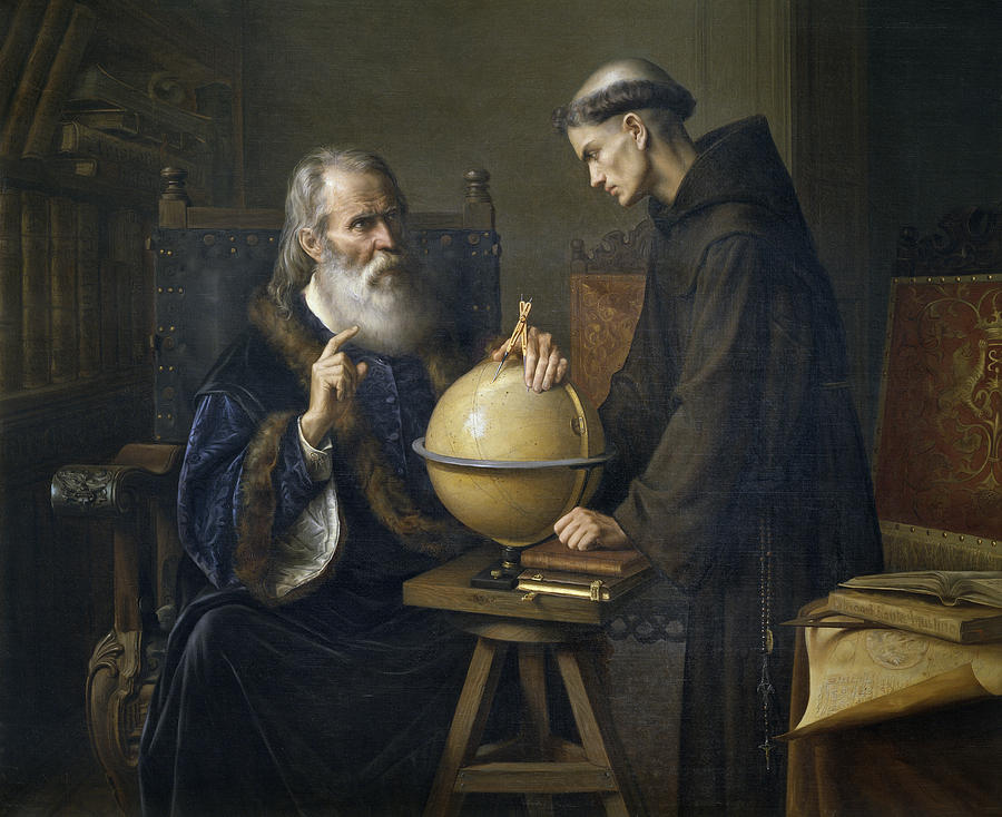 Portrait; Astronomy; Scientist; Science; Beard; Old; Elderly; Seated; Sitting; Demonstration; Showing; Globe; Compass; Monk; Priest; Tonsure; Religious; Interior; Listening; Teacher; Teaching; Lesson Painting - Galileo Galilei Demonstrating His New Astronomical Theories At The University Of Padua by Felix Parra